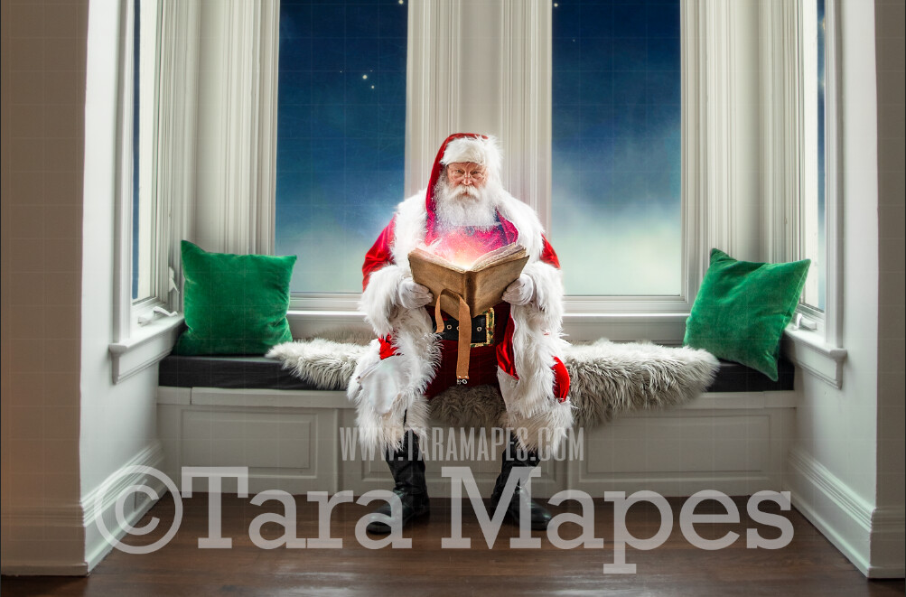 Traditional Santa Window Seat Whimsical Scene  - Santa at Magical Bay Window Painterly Style Cozy Christmas Holiday Digital Background Backdrop