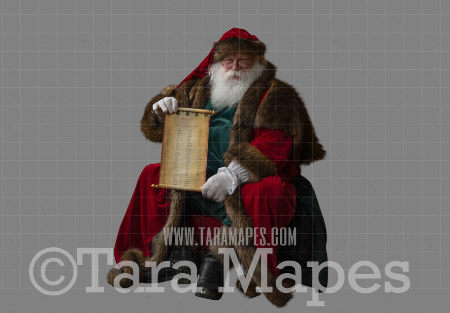 Victorian Santa with Scroll-  Santa Clip Art - Santa Cut Out  - Christmas Overlay - Santa PNG - Christmas Overlay