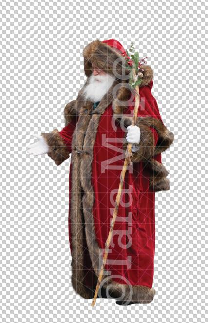 Victorian Santa Overlay  PNG - Santa with Christmas Staff and Arm Out - Santa Clip Art - Santa Cut Out  - Christmas Overlay - Santa PNG - Christmas Overlay