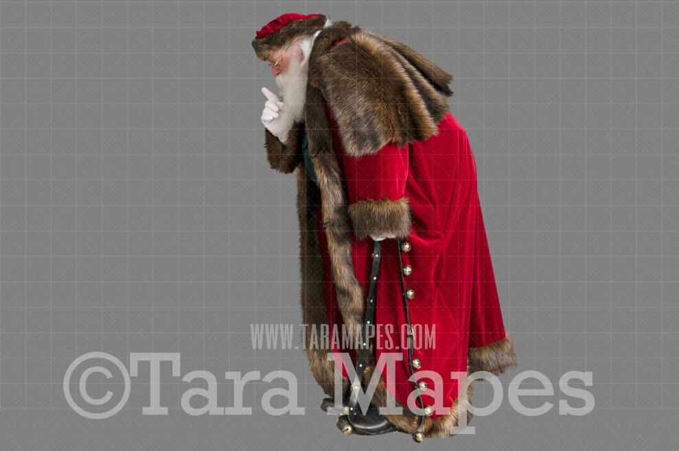 Victorian Santa Bent Over Saying Shhh- Santa with Sack - Santa Clip Art - Santa Cut Out  - Christmas Overlay - Santa PNG - Christmas Overlay