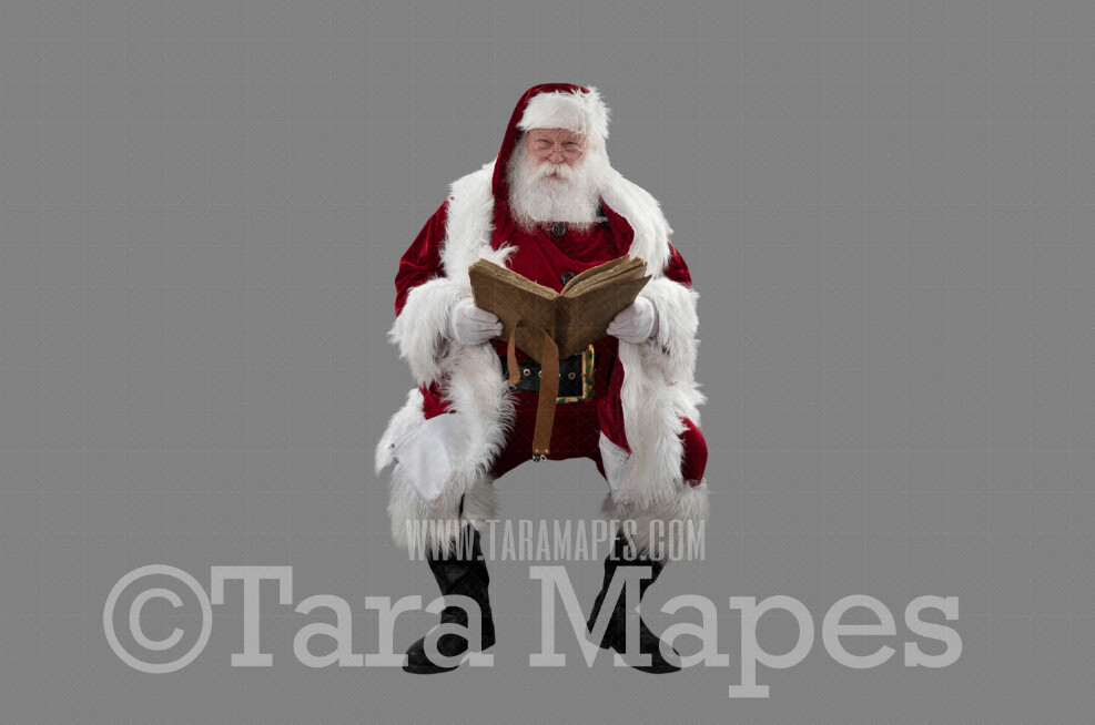 Santa with Book-  Santa Clip Art - Santa Cut Out  - Christmas Overlay - Santa PNG - Christmas Overlay