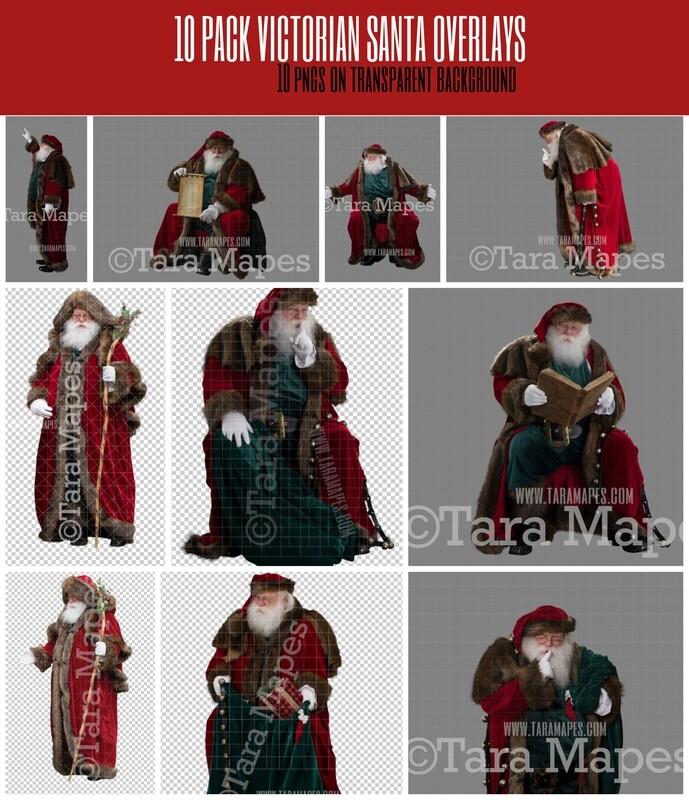 10 Pack Victorian Santa Overlay Bundle -  Santa Clip Art - Santa Cut Out  - Christmas Overlay - Santa PNG - Christmas Overlay