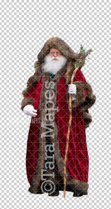 Victorian Santa Overlay PNG - Santa with Christmas Staff - Santa Clip Art - Santa Cut Out  - Christmas Overlay - Santa PNG - Christmas Overlay