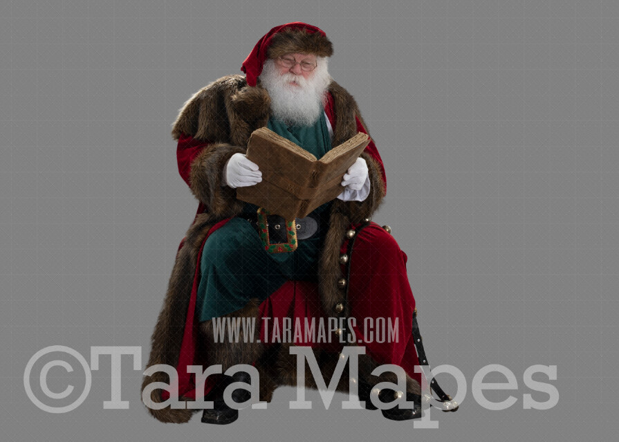 Victorian Santa with Book PNG - Santa with Sack - Santa Clip Art - Santa Cut Out  - Christmas Overlay - Santa PNG - Christmas Overlay