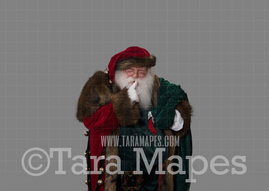 Victorian Santa Crop Saying Shh-  Santa Clip Art - Santa Cut Out  - Christmas Overlay - Santa PNG - Christmas Overlay