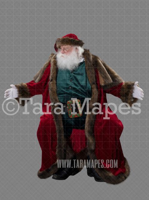 Victorian Santa Sitting with Arms Out-  Santa Clip Art - Santa Cut Out  - Christmas Overlay - Santa PNG - Christmas Overlay