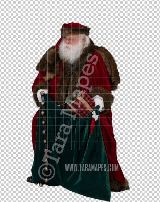 Victorian Santa with Bag Overlay  PNG - Santa with Sack - Santa Clip Art - Santa Cut Out  - Christmas Overlay - Santa PNG - Christmas Overlay