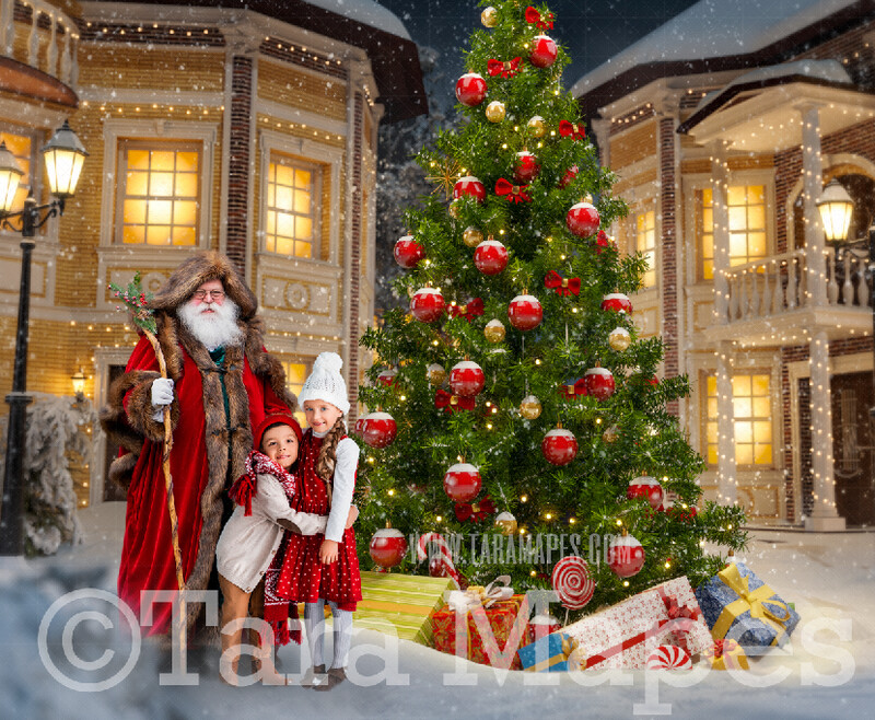 Victorian Santa in Christmas Town- Santa in Village- North Pole Cozy Christmas Holiday Digital Background Backdrop