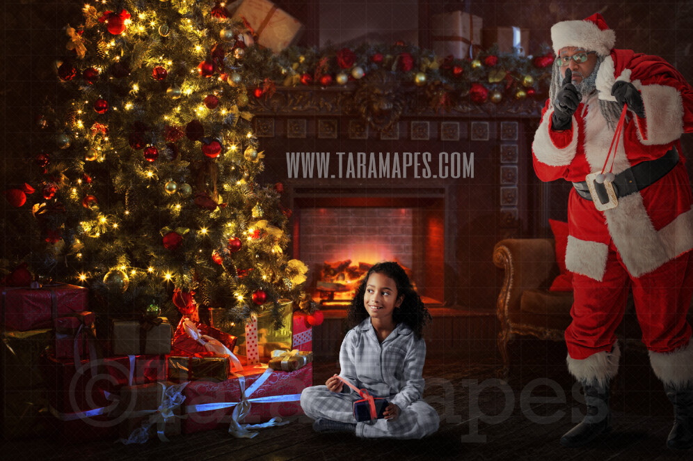 Black Santa Surprise - Santa Behind Tree - Santa by Christmas Tree - Holiday Christmas Digital Background / Backdrop