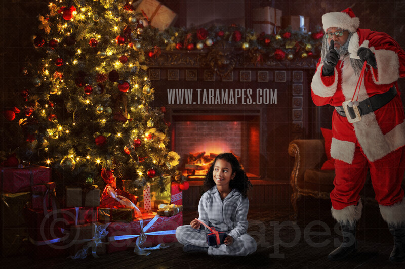 Black Santa Surprise - Santa Behind Tree - Santa by Christmas Tree - Holiday Christmas Digital Background / Backdrop