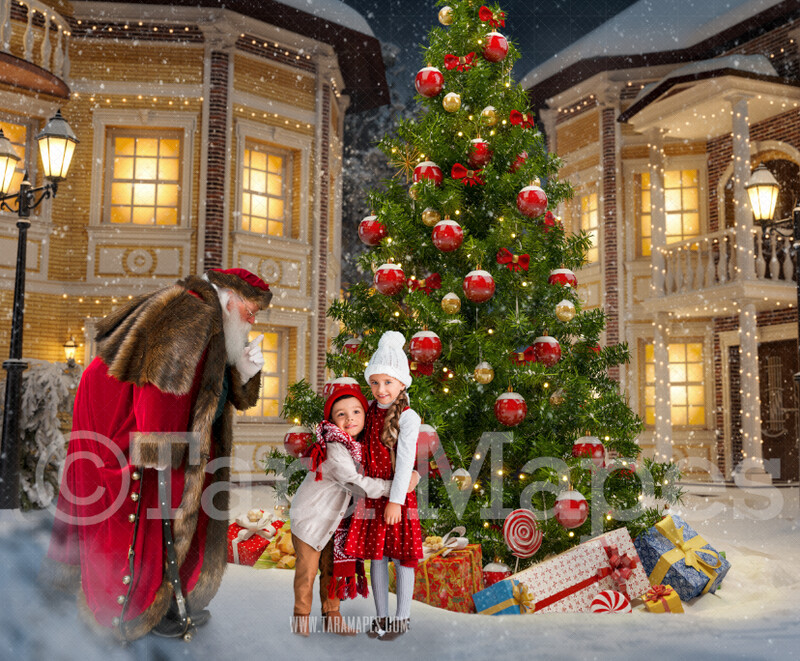 Victorian Santa in Christmas Town Saying Shh- Santa in Village- North Pole Cozy Christmas Holiday Digital Background Backdrop