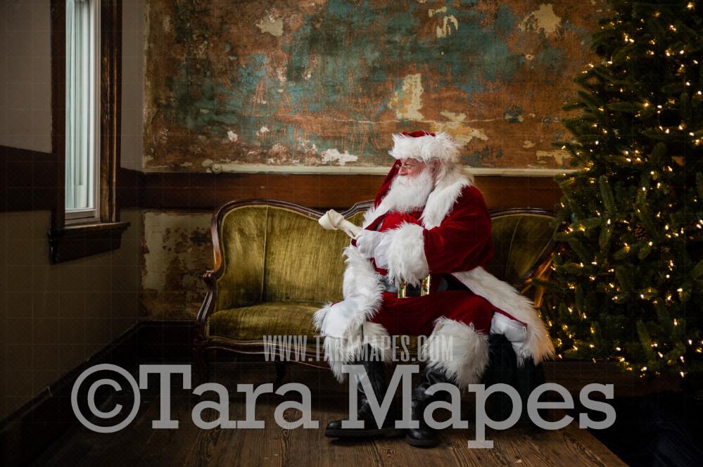 Vintage Santa with Dog Bone Up on Loveseat - Santa Sitting on Vintage Couch - Cozy Christmas Holiday Digital Background Backdrop