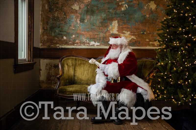 Vintage Santa with Dog Bone Up on Loveseat - Santa Sitting on Vintage Couch - Cozy Christmas Holiday Digital Background Backdrop