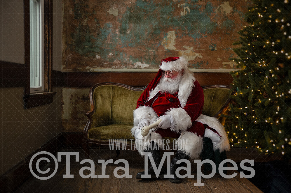 Vintage Santa with Dog Bone on Loveseat - Santa Sitting on Vintage Couch - Cozy Christmas Holiday Digital Background Backdrop