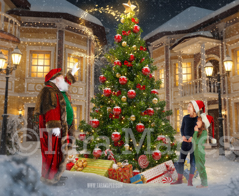 Victorian Santa in Christmas Town Using Magic To Put Star on Tree- Santa in Village- North Pole Cozy Christmas Holiday Digital Background Backdrop