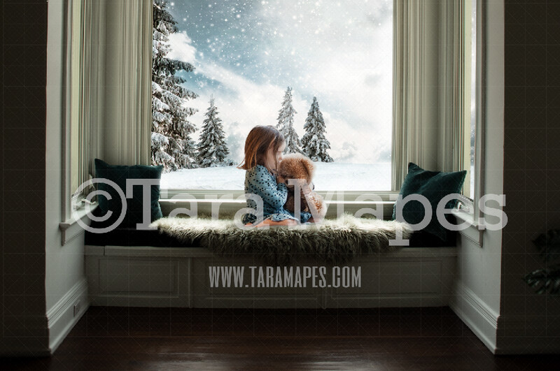 Winter Window - Bay Window Seat Snowy Pines  -  Magical Window Seat Cozy Christmas Holiday Digital Background Backdrop