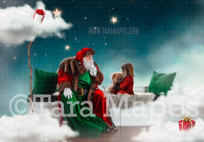 Magic Christmas Night - Santa in Clouds and Stars - Whimsical scene FREE PAINTERLY TEXTURE  Christmas Holiday Digital Background Backdrop