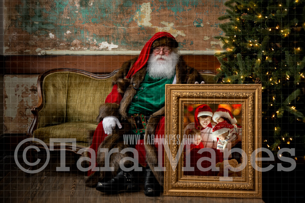 Santa with Picture Frame-  Santa Frame LAYERED PSD! Victorian Santa - Holiday Christmas Digital Background / Backdrop