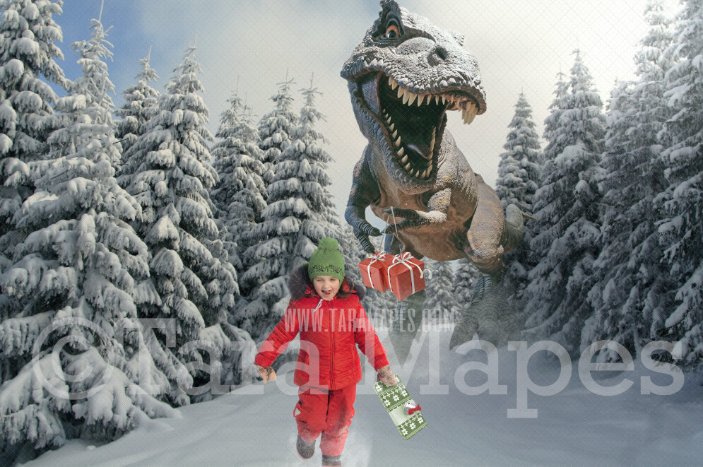 Dino Chase Christmas - Christmas Dinosaur - Funny T-Rex Tyrannosaurus Rex with Christmas Present - Chase Holiday Funny Digital Background Backdrop