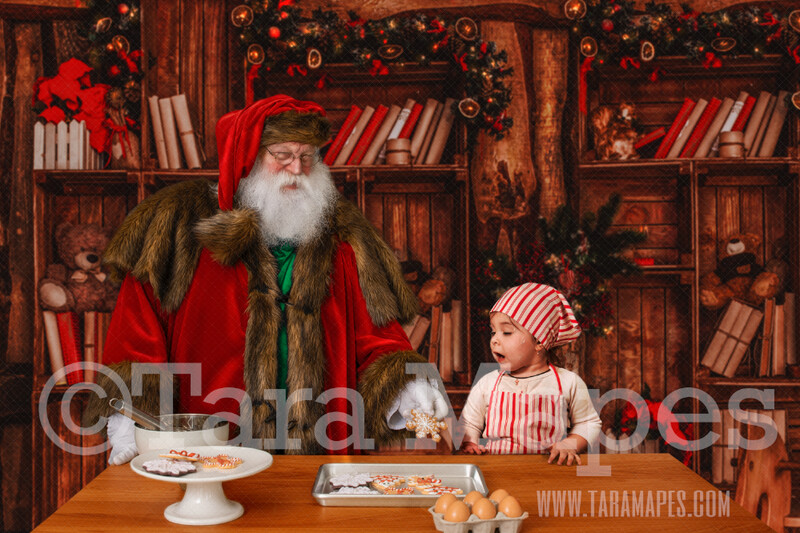 Victorian Santa in Kitchen - Baking Cookies with Santa  Christmas Kitchen with Santa JPG - Christmas Holiday Digital Background Backdrop