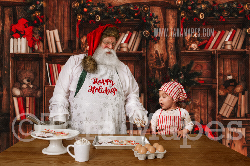 Victorian Santa in Kitchen with Apron - Baking Cookies with Santa  Christmas Kitchen with Santa JPG - Christmas Holiday Digital Background Backdrop