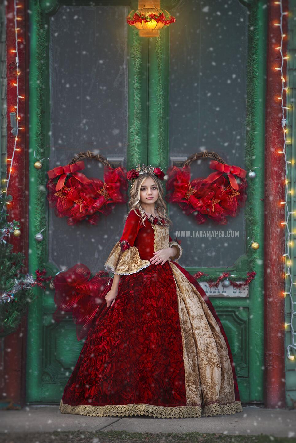 Christmas Door in Christmas Town- Holiday Christmas Street - Christmas Town Winter Wonderland - Scene for Portraits Digital Background