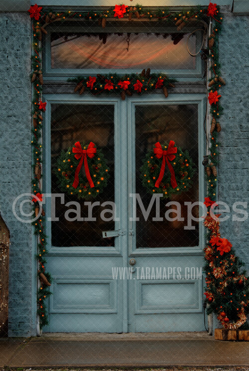 Cyan Christmas Door in Christmas Town- Free Snow Overlay - Holiday Christmas Street - Christmas Town Winter Wonderland - Scene for Portraits Digital Background