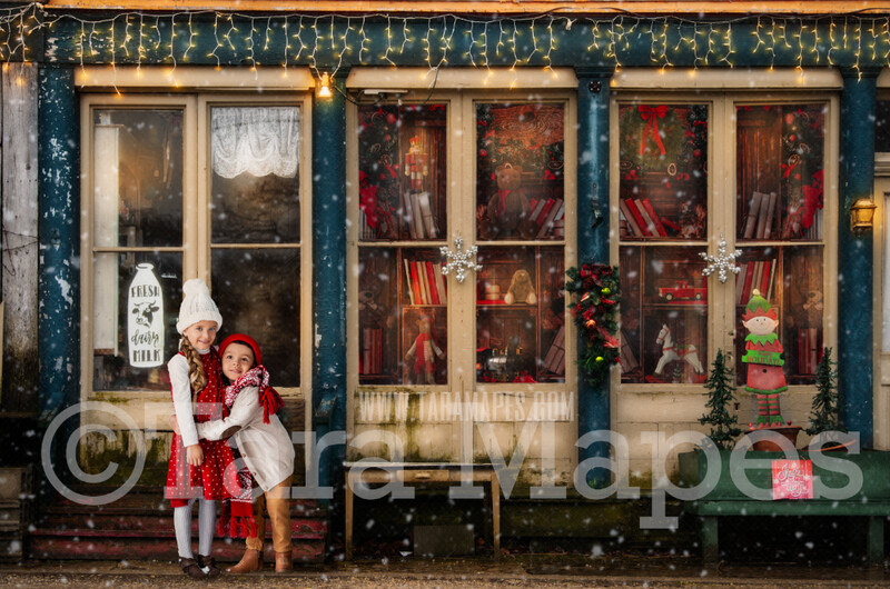 Christmas Toy Shop - Old Shoppe in Christmas Town- Holiday Christmas Street - FREE SNOW OVERLAY - Christmas Town Winter Wonderland - Scene for Portraits Digital Background