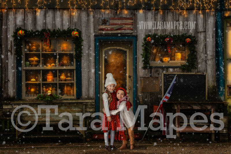 Christmas Shoppe in Christmas Town- Holiday Christmas Street - Christmas Town Winter Wonderland - FREE SNOW OVERLAY included - Scene for Portraits Digital Background