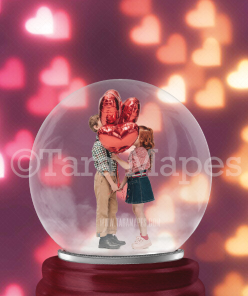Valentine Snowglobe with Heart Bokeh Background Digital Backdrop - Valentine's Day Snow Globe Digital Background -  Globe Background by Tara Mapes - Layered PSD Digital Background
