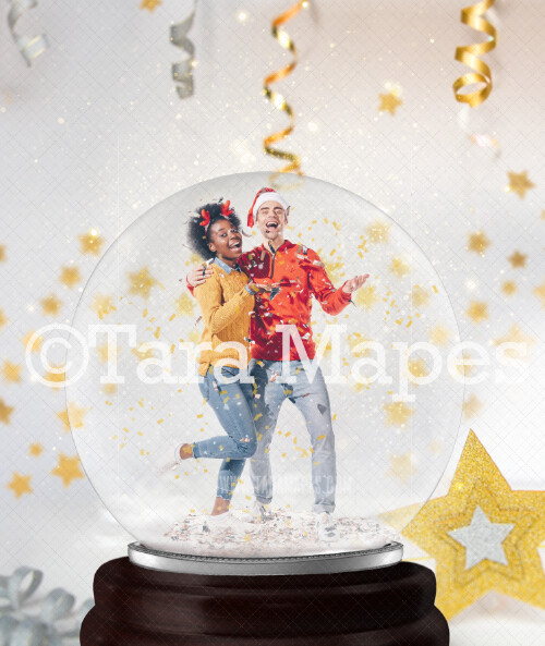 New Year's Eve Snowglobe  Digital Backdrop - Snow Globe Digital Background -  Globe Background by Tara Mapes - Layered PSD Digital Background