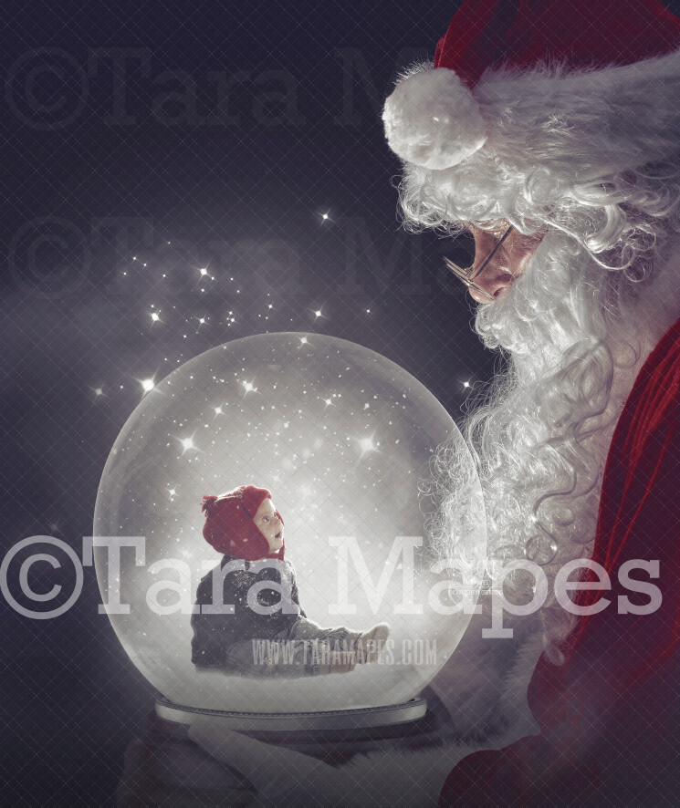 Santa Holding Snow Globe - LAYERED PSD! Snowglobe Santa - Snow Globe Santa Holiday Christmas Digital Background / Backdrop