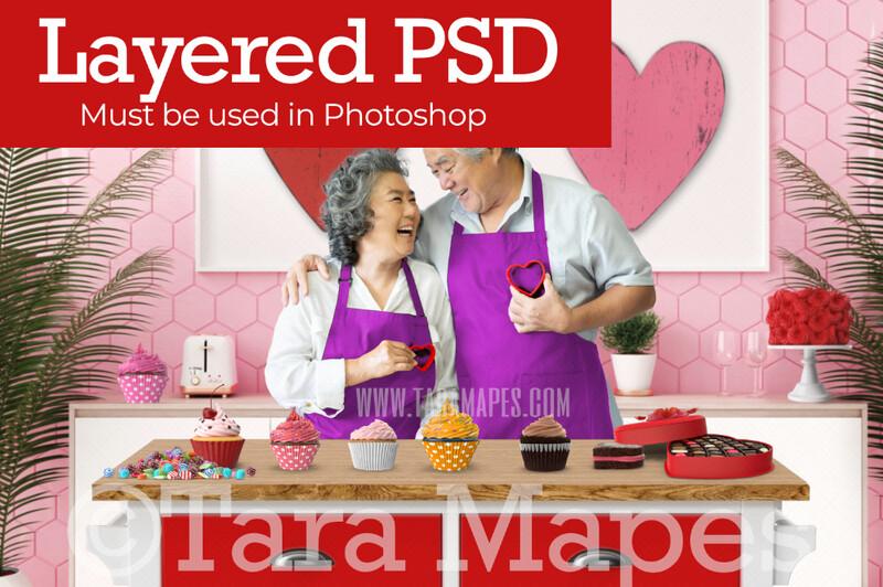 Valentine Kitchen - Baking Valentine Treats - LAYERED PSD - Couples Love Anniversary Valentine's Day Digital Background / Backdrop