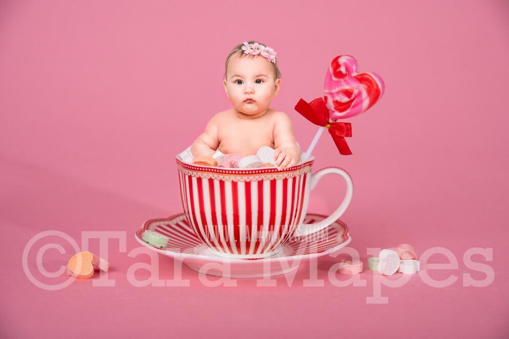 Valentine Digital Background - Candy Cup of Sweet Hearts - Tea Cup Mug Newborn Sitter Digital Background Valentine's Day -Digital Background / Backdrop
