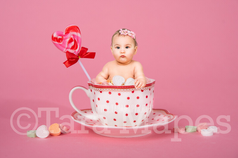 Valentine Digital Background - Polka Dot Candy Cup of Sweet Hearts - Tea Cup Mug Newborn Sitter Digital Background Valentine's Day -Digital Background / Backdrop
