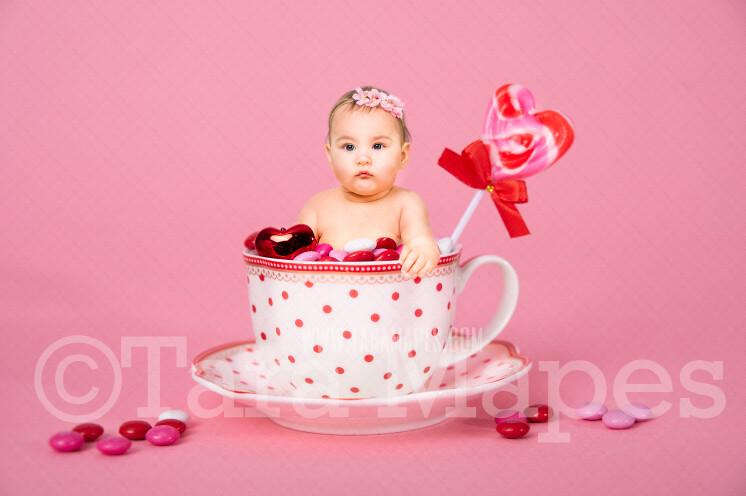 Valentine Digital Background - Polka Dot Candy Cup of Chocolate - Tea Cup Mug Newborn Sitter Digital Background Valentine's Day -Digital Background / Backdrop
