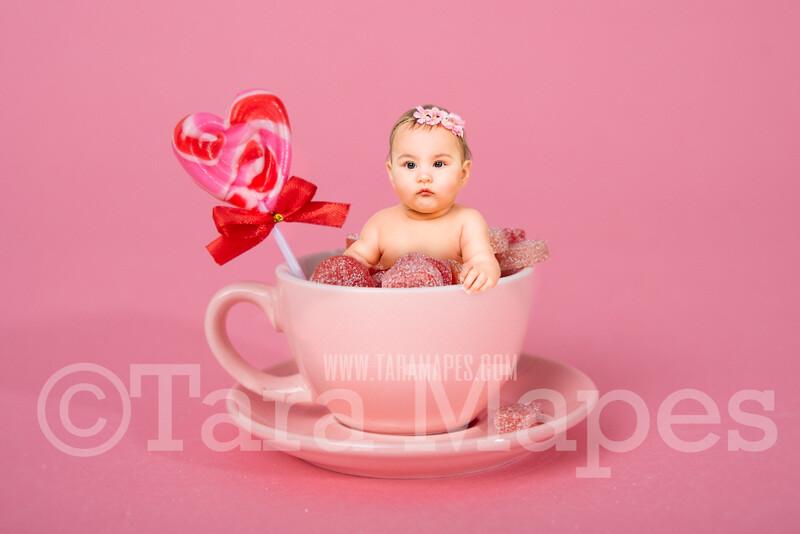 Valentine Digital Background - Pink Candy Cup of Gummy Hearts - Tea Cup Mug Newborn Sitter Digital Background Valentine's Day -Digital Background / Backdrop