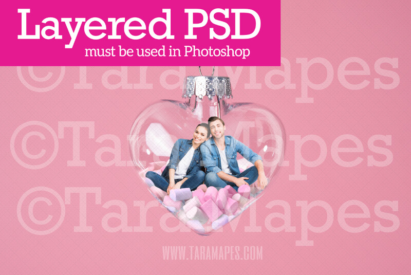 Valentine Ornament - Love Heart Bauble - Heart Ornament LAYERED PSD - Couples Love Anniversary Valentine's Day Digital Background / Backdrop