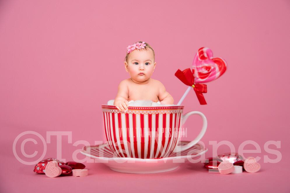 Valentine Digital Background - Candy Mug Newborn Sitter Digital Background Valentine's Day -Digital Background / Backdrop