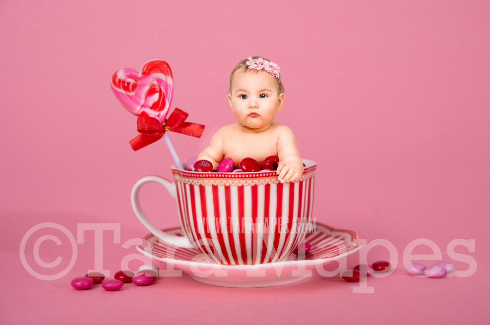 Valentine Digital Background - Red Striped Candy Cup of Chocolate - Tea Cup Mug Newborn Sitter Digital Background Valentine's Day -Digital Background / Backdrop