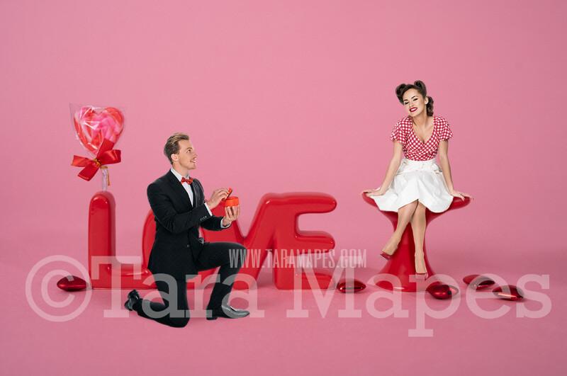 Valentine Digital Background - Three Rustic Hearts - Digital Background Valentine's Day -Digital Background / Backdrop