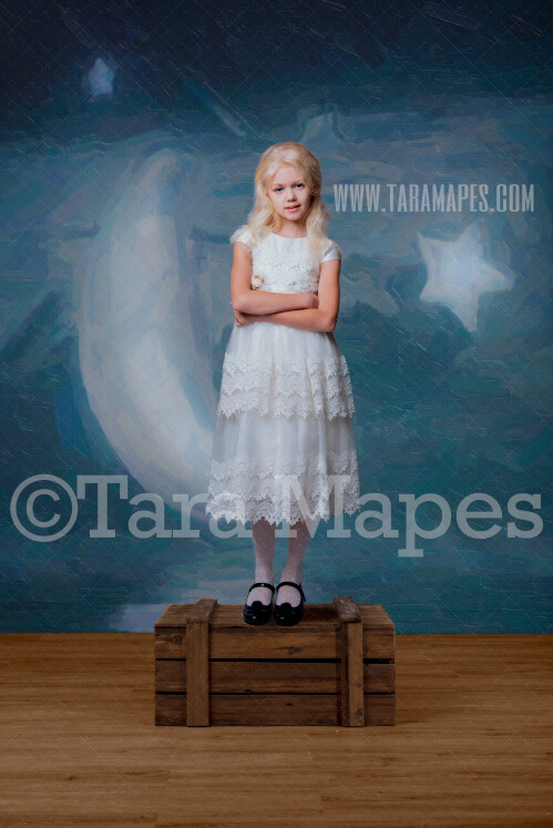 Moon and Stars Studio Digital Background - Night Sky Painted Backdrop in Studio - Magical- Birthday -Digital Background / Backdrop