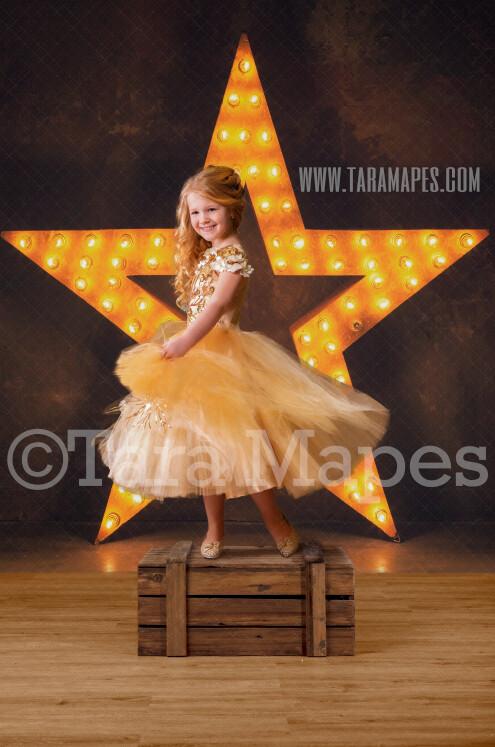 Star Light Digital Background - Star Marquee Studio Light - New Year - Gold and Black - Birthday -Digital Background / Backdrop
