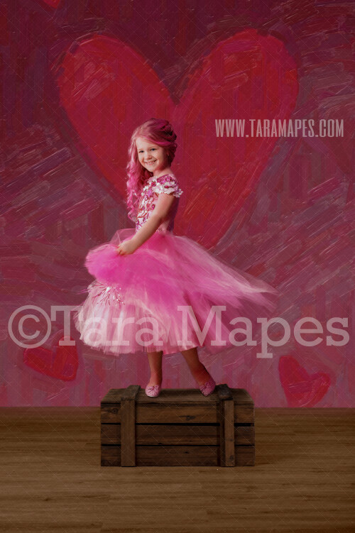 Valentine Hearts Studio Digital Background - Hearts Pink and Red Painted Backdrop in Studio - Digital Background / Backdrop