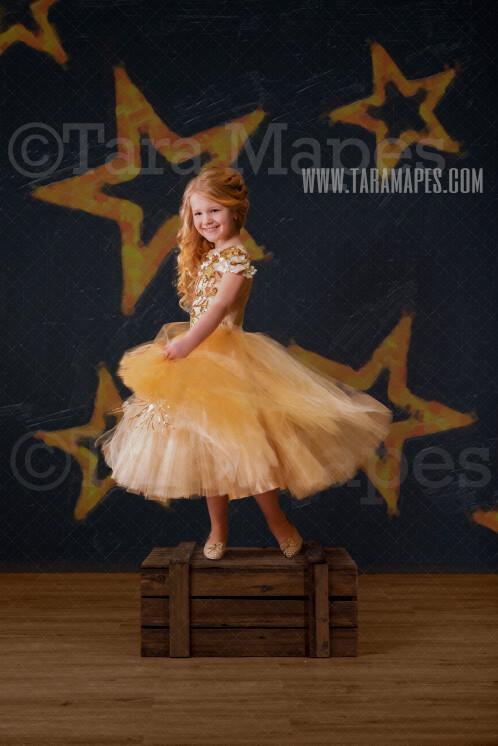 Stars on Black Digital Background - Star Marquee Studio Light - New Year - Gold and Black - Birthday -Digital Background / Backdrop