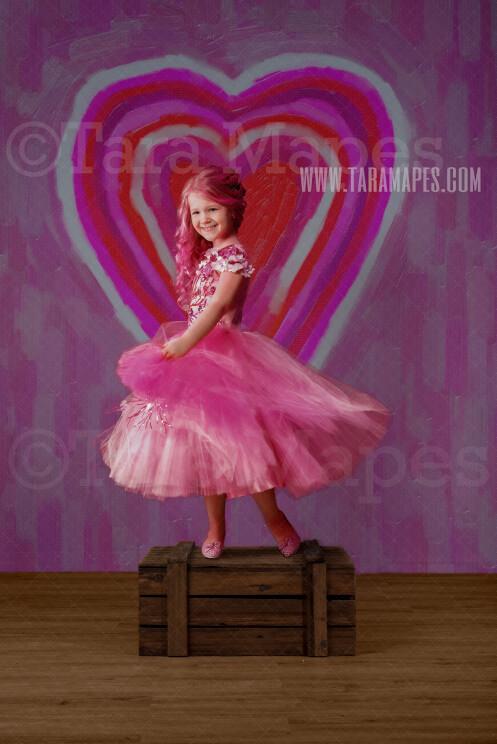 Big Heart Oil Painting Digital Background - Valentine Backdrop - Hearts - Digital Background / Backdrop