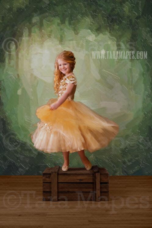 Natural Spring Studio Digital Background - Spring Oil Painted Floral Digital Backdrop in Studio - Magical- Birthday -Digital Background / Backdrop