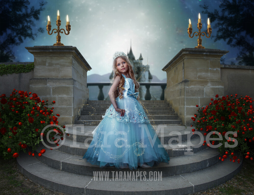 Princess Castle Staircase on Bright Night - Round Castle Stairs with Castle in Background - Fairytale Moonlight Castle - Digital Background Backdrop Photoshop