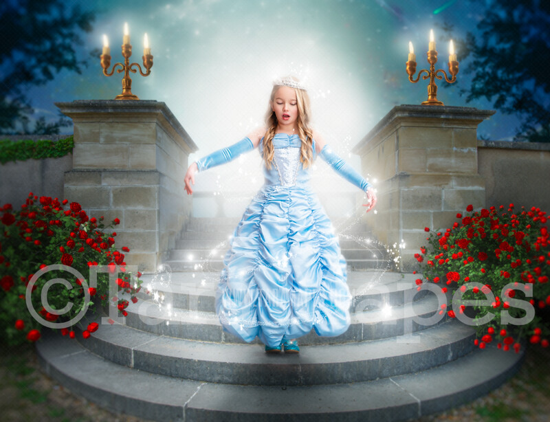 Princess Castle Staircase on Bright Night - Round Castle Stairs with Magical Sky  - Fairytale Castle Stairs - Digital Background Backdrop Photoshop