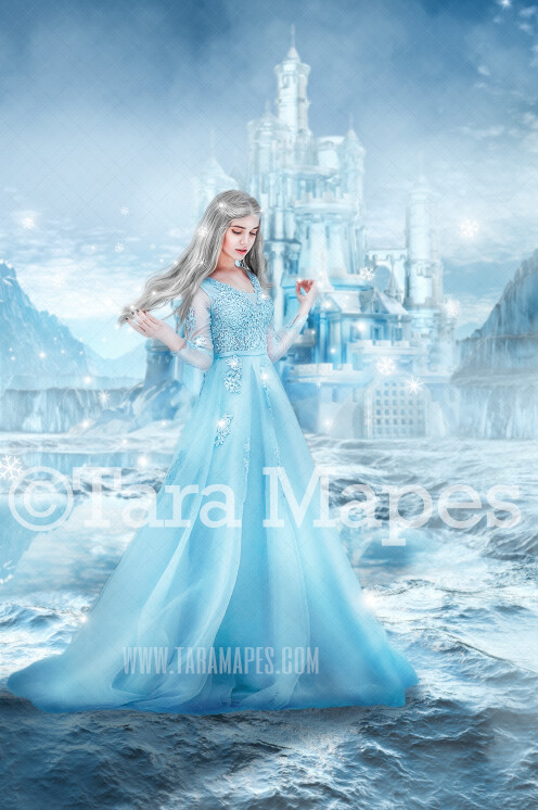 Ice Castle - Winter Castle - Ice Princess Castle - A Frozen House - Snowy Scene Digital Background Backdrop JPG FILE